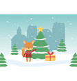 merry christmas celebration cute fox with sweater vector image