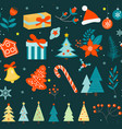 merry christmas seamless pattern new year winter vector image vector image