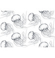 monochrome seamless sea pattern with vector image
