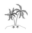 monochrome silhouette of island with palm trees vector image vector image