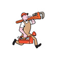 Plumber Carrying Monkey Wrench Toolbox Running vector image vector image