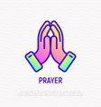 praying hands thin line icon vector image vector image