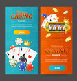 realistic casino banner vertical set vector image vector image
