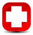 red cross icon with diagonal shadow - white cross vector image