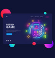 retro games website concept banner design vector image vector image