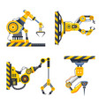 robot arms set or factory machine hands vector image