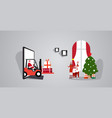santa claus driving forklift with gift boxes from vector image vector image
