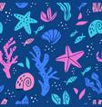 sea flora and fauna flat seamless pattern vector image vector image