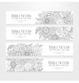 Set flyers with floral doodle pattern vector image vector image