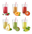 set of realistic glasses with tasty juice and vector image vector image