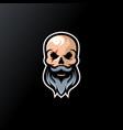 skull beard logo design ready to use vector image