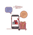 smartphone with wallpaper inside of set gift and vector image vector image