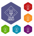 solar energy icons hexahedron vector image vector image