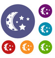 starry night icons set vector image vector image