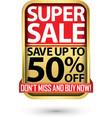 super sale save up to 50 off golden label vector image