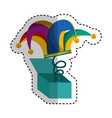 Surprise box with harlequin hat isolated icon