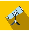 Telescope flat icon with shadow vector image vector image