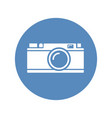 white rangefinder camera icon placed on blue vector image vector image