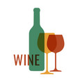 wine logo with wine bottle and glass on white vector image vector image