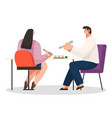 young happy couple eating sushi in restaurant vector image