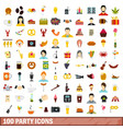 100 party icons set flat style vector image vector image