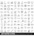 100 water icons set outline style vector image vector image