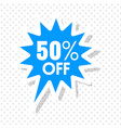 50 off blue speech white background image vector image