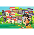 A hilltop with a girl running across the buildings vector image vector image