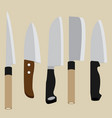a set of knives vector image vector image