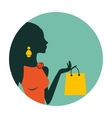 An of beautiful woman shopping vector image vector image