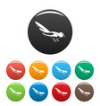australian magpie icons set color vector image vector image