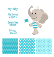 baelephant blue design with seamless patterns vector image vector image