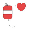 bag blood with heart donation icon vector image