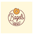 bagel menu logo round linear bagel bakery vector image