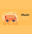 banner travel music collection with funny bus vector image