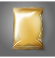 Blank golden realistic foil snack pack isolated vector image vector image