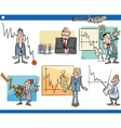 business cartoon crisis concepts set vector image vector image