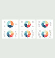 business infographics pie charts with 3 4 5 6 vector image vector image