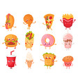cartoon fast food mascots street food character vector image