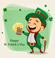 cartoon funny leprechaun holding a pint of beer vector image vector image