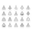 christmas tree simple black line icons set vector image