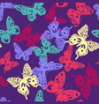 colorful butterfly pattern on violet background vector image vector image