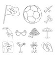 country brazil outline icons in set collection for vector image vector image