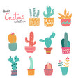 cute doodle hand drawn pastel cactus collection vector image