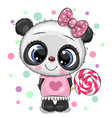 cute panda in a dress and with lollipop vector image