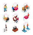 dating isolated isometric icons vector image