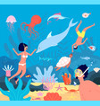 divers underwater swimmers scuba leisure snorkel vector image