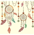 Dream Catcher feathers beads cobweb vector image