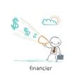 financier yells into a megaphone about money vector image vector image