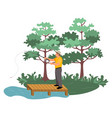 fisherman holding fishing-rod green nature vector image vector image
